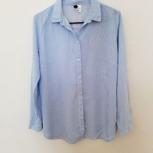 H&M Blue and White Striped Blouse